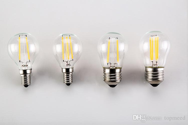 Светодиодные лампы G45 2W Dimmable 110V / 220V LED BulbE14 // E26 / E27 / B22 Оправа мягкий белый шар свет лампы 15 Вт Замена