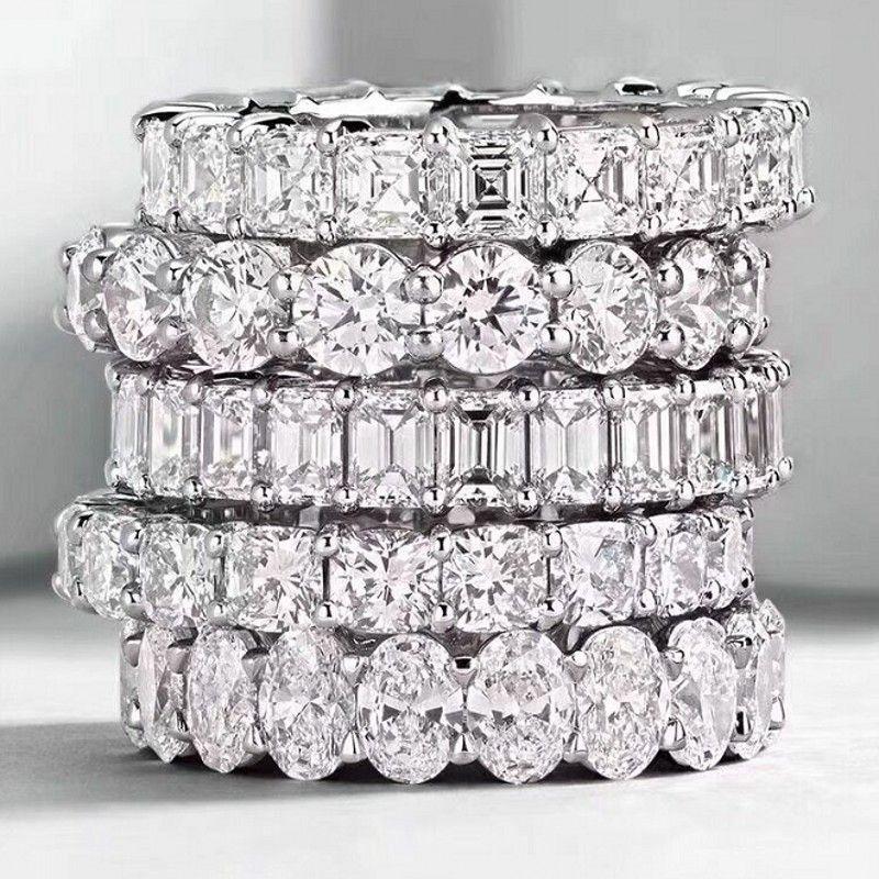Choucong Joyería de Moda Vintage Real 925 Princesa de Plata Blanca Topacio CZ Diamante Eternidad Mujeres Anillo de Compromiso de Boda Regalo
