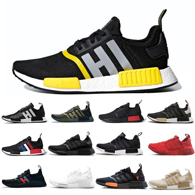2020 zapatos corrientes de carreras NMD R1 R2 Humanos Pharrell Williams Hombres zapatillas de deporte del corazón Mente Negro Blanco Amarillo Bred Tamaño para mujer para hombre 36-45 Deportes