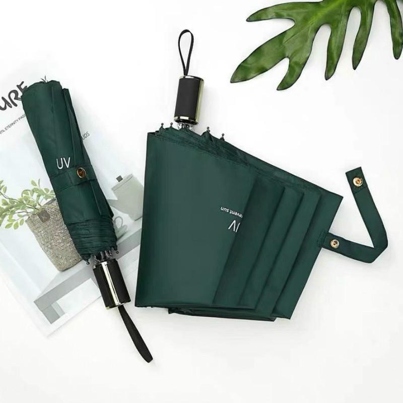 작은 신선한 선 스크린 파라솔 학생 일본어 단색 블랙 접착제 안티 UV 3 접히는 우산 비와 비 여성 선물