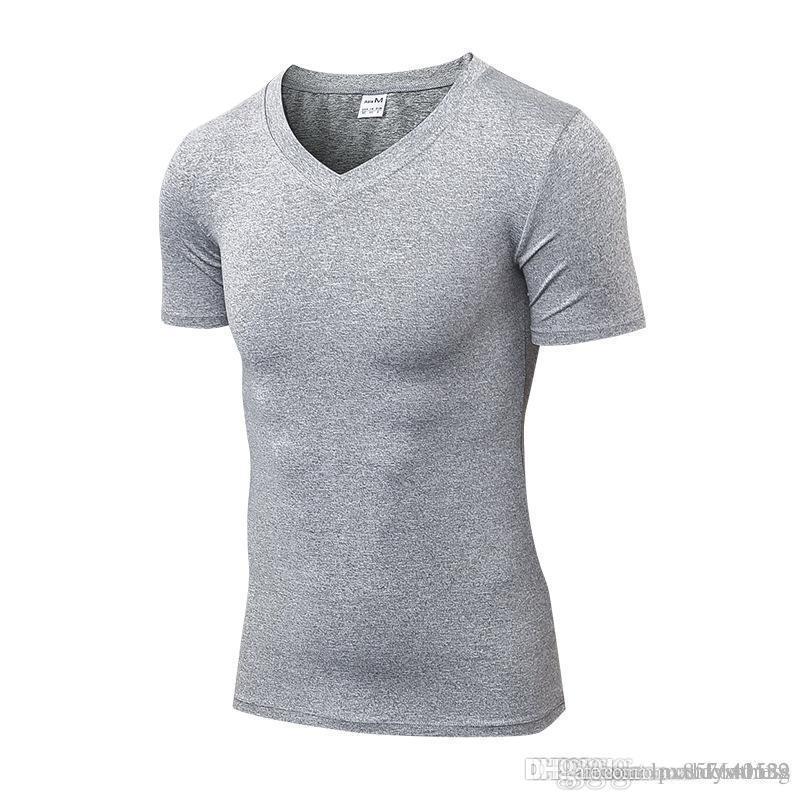 2018 Brand New T-Shirt Uomo Sport Top Abbigliamento da allenamento Maschio Quickly Dry Compressione Palestra Abbigliamento Fitness Red Running Shirt