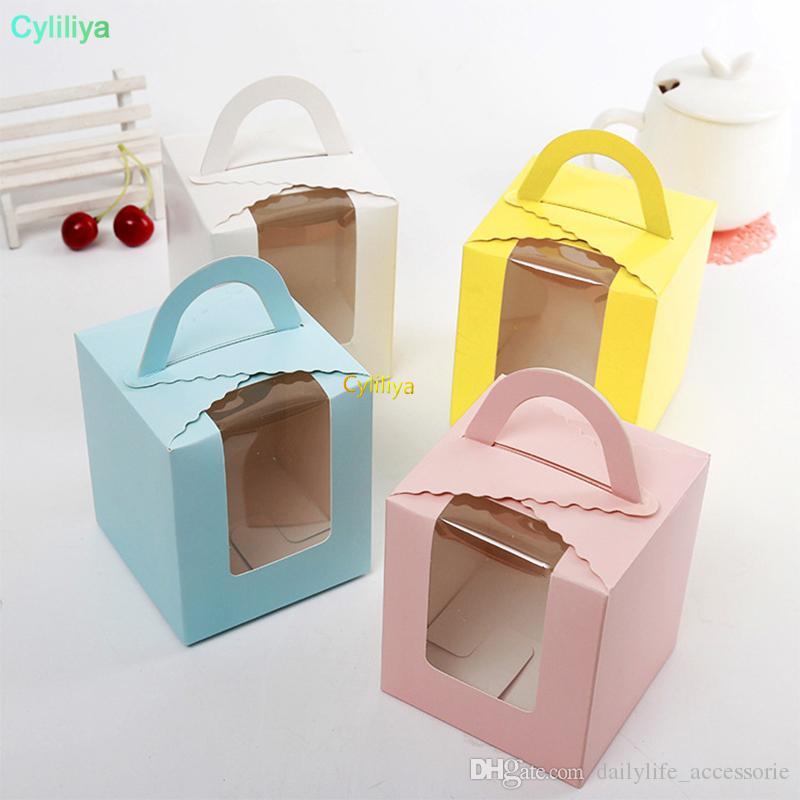 Boîte de petit gâteau de couleur pure avec poignée de fenêtre en PVC boîtes à muffins en papier en gros livraison gratuite