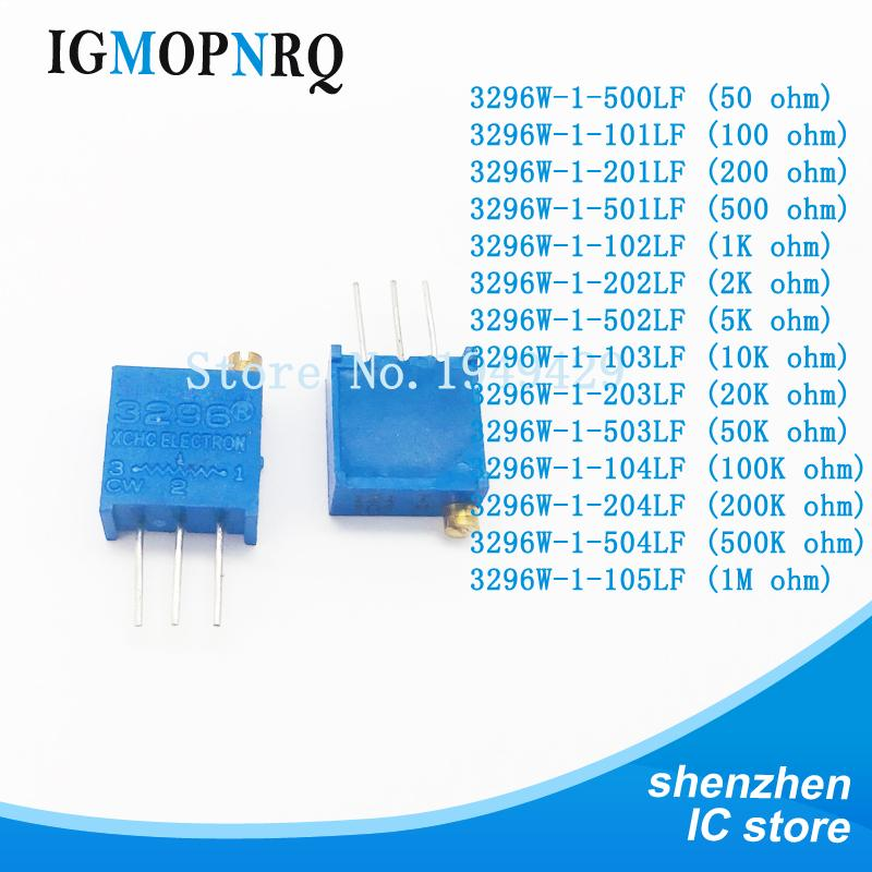 1000Pcs/lot 3296W 100 200 500 ohm 1K 2K 5K 10K 20K 50K 100K 200K 500K 1M 2Mohm 103 100R 200R 500R Trimpot Trimmer Potentiometer