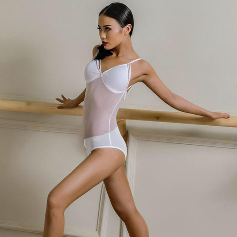 Salle de bal latine femme danse justaucorps Tops Perspective pratique Sling Sexy Bodysuit Pour Salle de bal Cha Cha danse Vêtements DWY1946