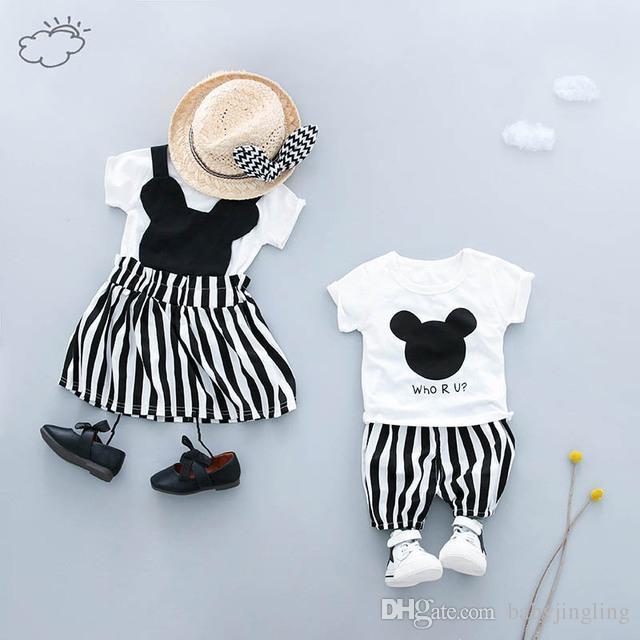Yaz Bebek Giysileri Setleri Bebek Erkek Kız Giyim Setleri Çocuk T Gömlek Elbise / Şort Kardeş Kardeş Giyim Suits