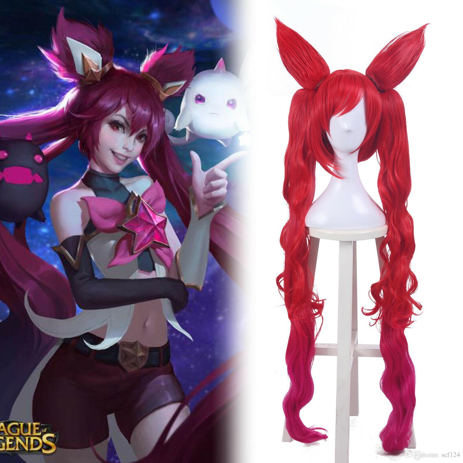 Dettagli sulla LOL Lega delle Cosplay Jinx Legends Stella Rossa Guardiano ondulate lunghe Coda di cavallo Parrucche