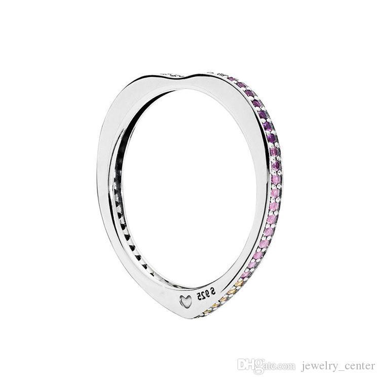 Arco multicolor de anillo de amor Mujeres Anillos de boda de lujo conjunta caja original para Pandora 925 Anillo de plata esterlina