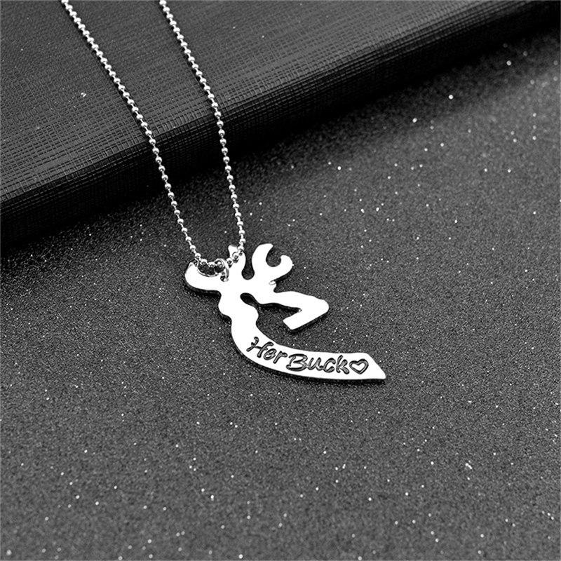 Kissing Heart Minimalist Hollow Heart Shape Pendant Couples Lovers Gifts 2 Pcs Deer Hunting Her Buck His Doe Necklaces