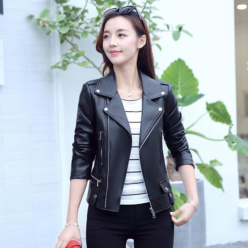 2019 printemps et en automne Slim coréenne Slim court cuir Pu femmes Veste en cuir Veste noire