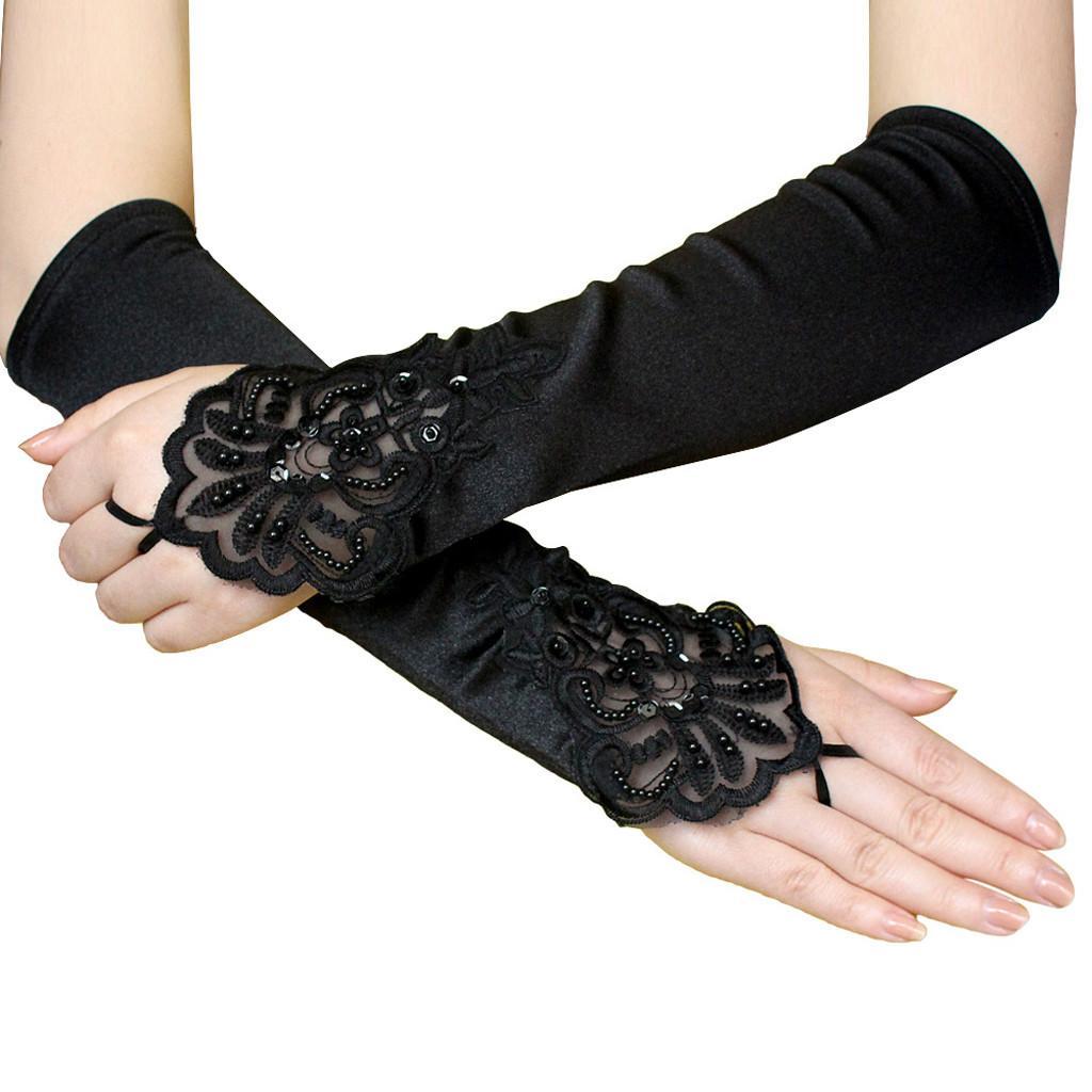 Guantes sin dedos largos guantes atractivo del cordón Nueva Negro partido gótico del estiramiento que rebordea sin dedos bordado estilo de Steampunk retro