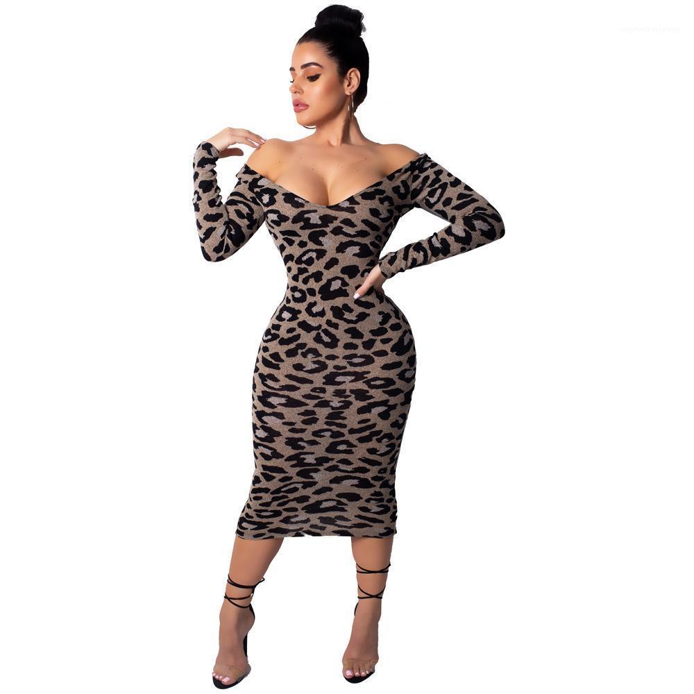 V cuello de Bodycon vestidos de diseño largo de la manga casquillo ropa de moda ocasional femenina de la ropa de moda leopardo de las mujeres profundo atractivo del grano