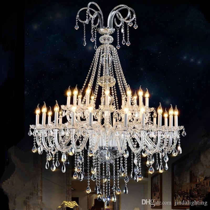Современная светодиодная люстра гостиная простые свечи роскошная двухуровневая вилла длинная винтовая лестница лампы стеклянные кристаллы для люстр