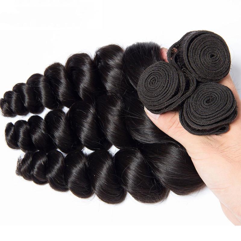100% Menschenhaar-Webart Farbe 1B Körper-Welle 3 Bundles / 300g Günstige tiefere Welle lose Wasserwelle Option Remy Haareinschlagfaden, freies DHL