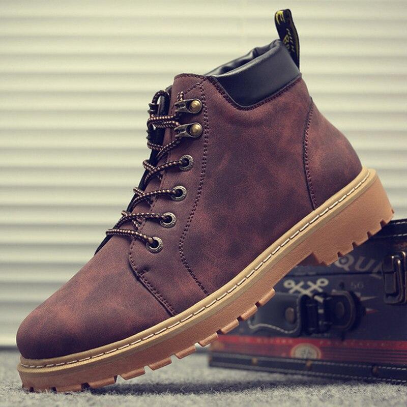 LASPERAL nuovo cuoio Stivaletti uomo Primavera Autunno Inverno caviglia Fashion Boots Plus Size 38-44 scarpe di cuoio il lavoro degli uomini