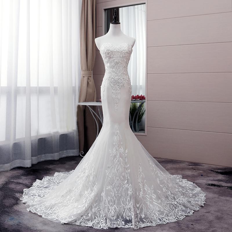 Sedutor Branco Strapless Lace Vestido de Noiva Sereia apliques de pérolas Beading Sexy vestidos de noiva Lace Up Voltar vestidos de noiva robe de soiree