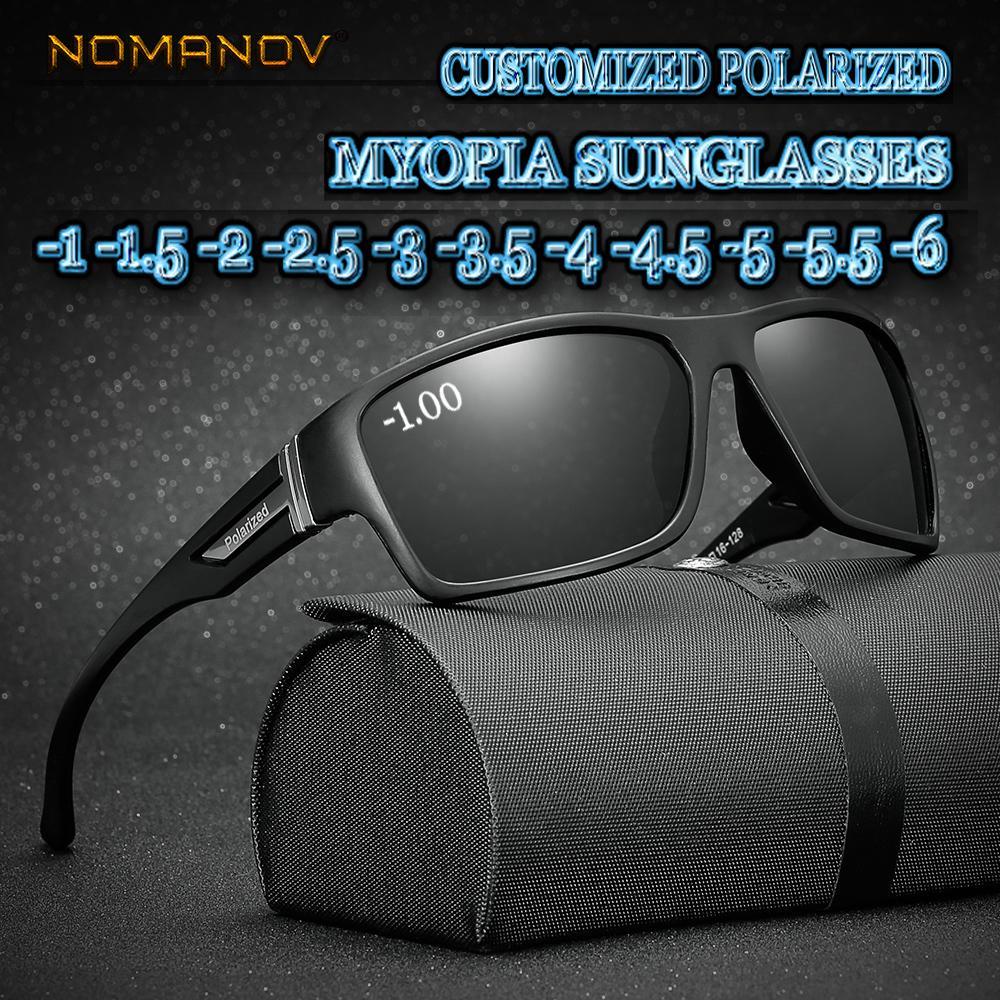 Maßgeschneiderte Myopie Minus Verschreibungspflichtige Polarisierte Linse Mode Box Sport Polarisierte Sonnenbrille Männlichen Bunten Spiegel -1 -1,5 Bis -6 Y19052004