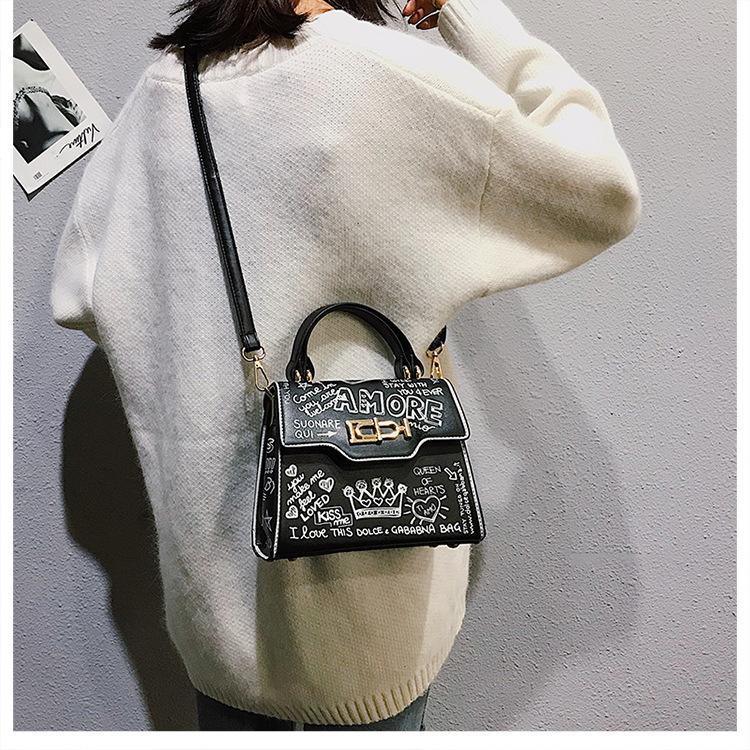 Moda Avrupa ve Amerikan tarzı grafiti çanta eğilim el çantası omuz eğimli vahşi rahat çanta