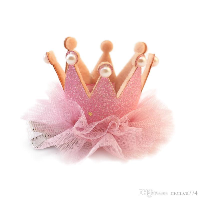 크리스마스 파티 8Colors BQ01에 대한 진주 INS HOT 공주 여자 크라운 왕관 머리핀 수제 아기 왕관 헤어핀 레이스 헤어핀