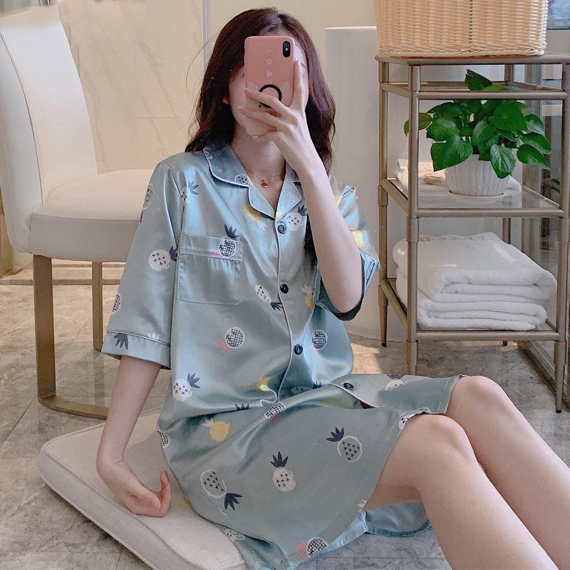 Mulheres Pijamas Turn-Down Collar 2XL Silk bolso deslizamento Sexy Lazer respirável Homewear Womens Satin Impresso