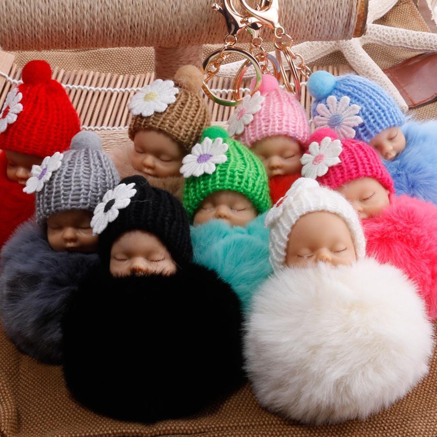 El dormir lindo de la muñeca llavero Pompón piel de conejo bola mosquetón llavero llavero Titular Mujeres Key Kids clave colgante del bolso del favor del anillo RRA2725