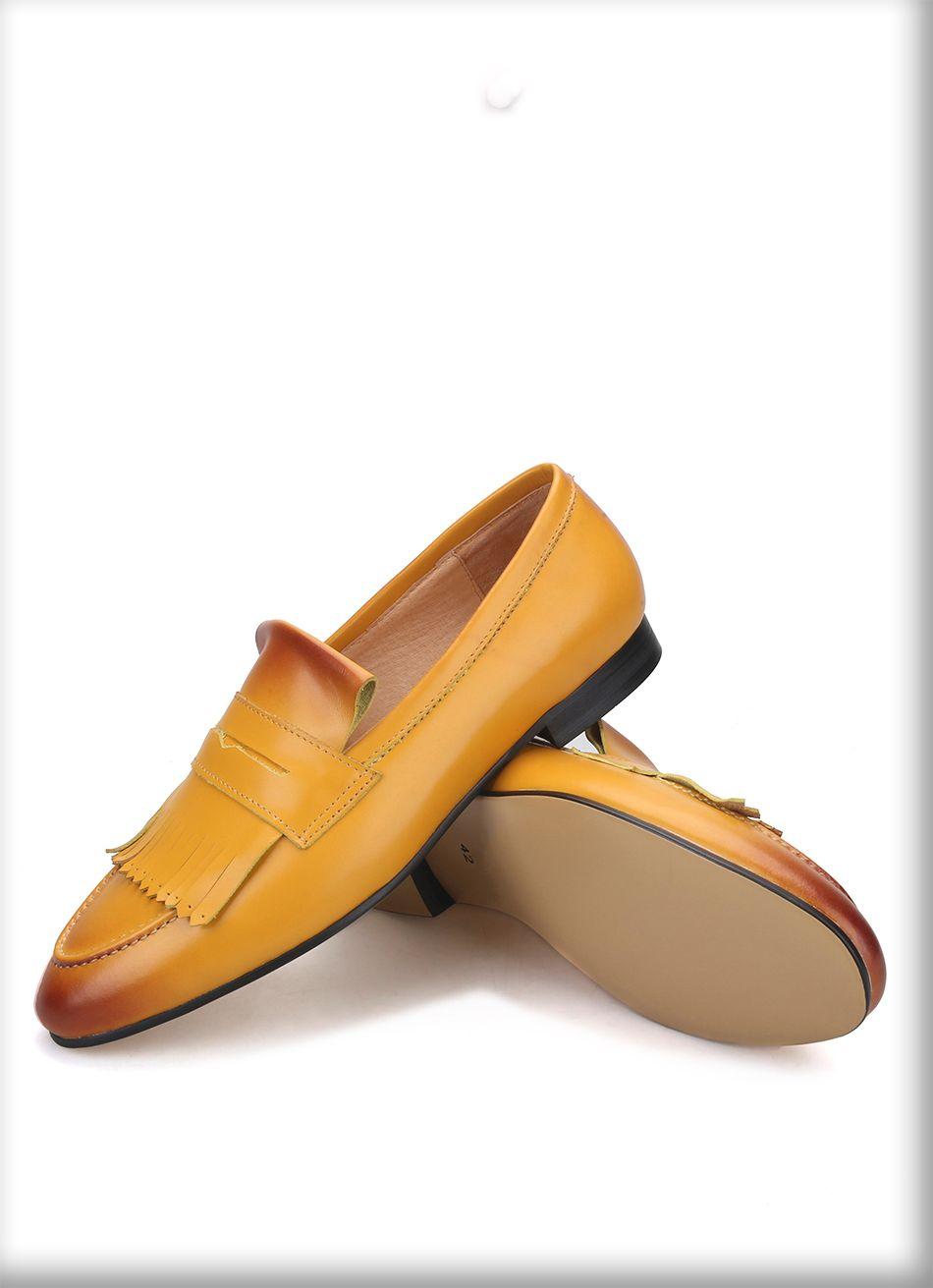 hommes couleur jaune penny veau mocassins glisser sur les chaussures habillées pour hommes pour les hommes faits à la main mariage et partie fumeurs pantoufles