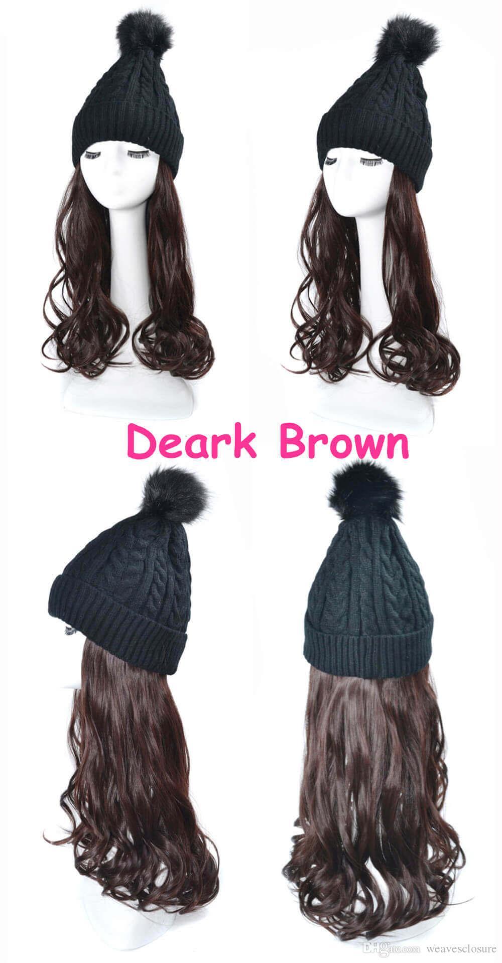 sombrero de punto de lana sombrero tejido de lana sombreros de pelo sintético capó de diseñador caliente sintética de pelo largo peluca de pelo del sombrero Mujeres New