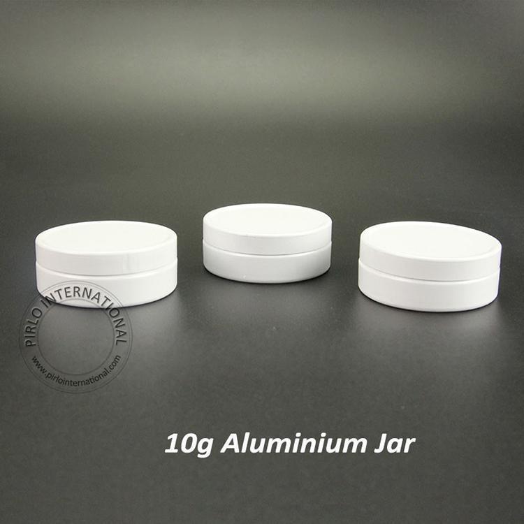 50pcs/lot 10g White Aluminum Cream Jars /Tins Cosmetic Lip Balm Containers Nail Derocation Crafts Pot Bottle