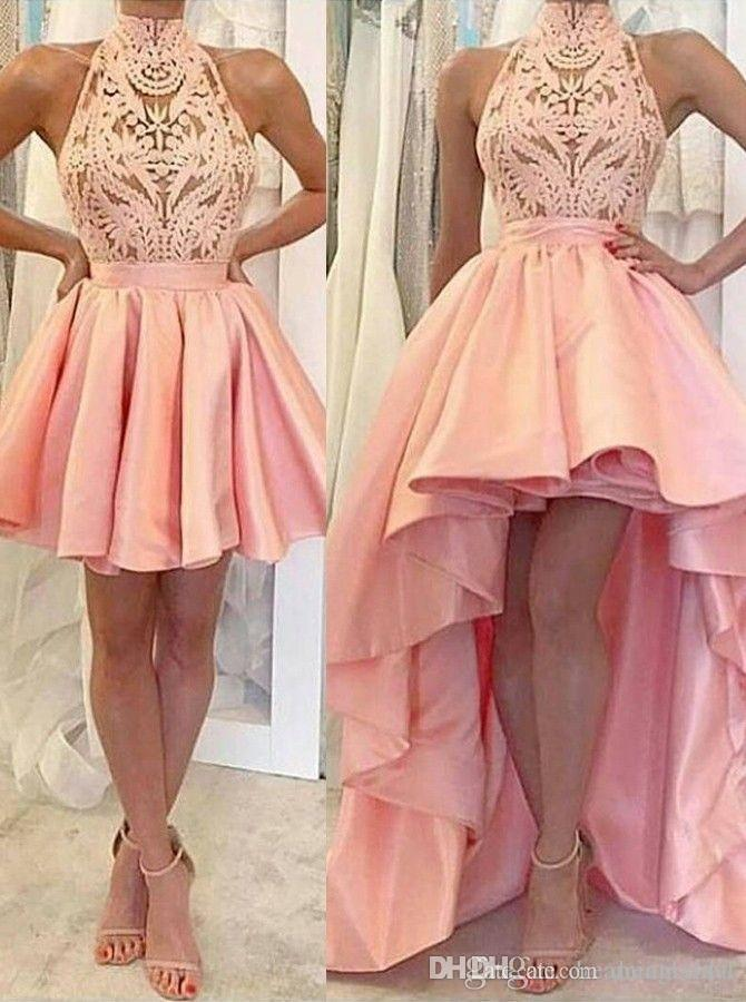 Pink High Low Ball Gown Prom Dresses 2018 New Detachable High Neck Sleeveless Lace Formal Evening Dress Party Gowns Custom Made Gothic Prom Dress Halter Top Prom Dresses From Dreamxinyi 143 82 Dhgate Com