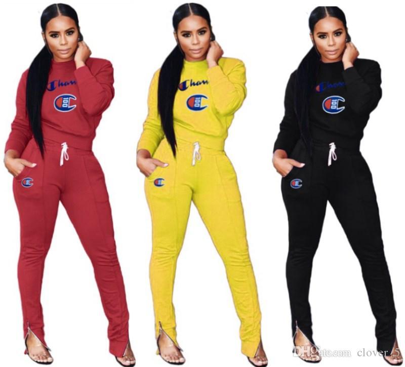 Tuta da donna di marca designer due pezzi stampa maniche lunghe o-collo e leggings moda cardigan magro abbigliamento donna klw2197