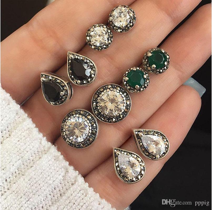 2019 European and American new fashion 5 pairs of jewelry green white black gem bohemian style ladies earrings