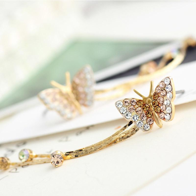 Fashion-farfalla nappa lunga ciondola orecchini di goccia damigella d'onore Teen Girl 2018 Nuova Bday Birthstone regalo gioielli di moda JS6 S914