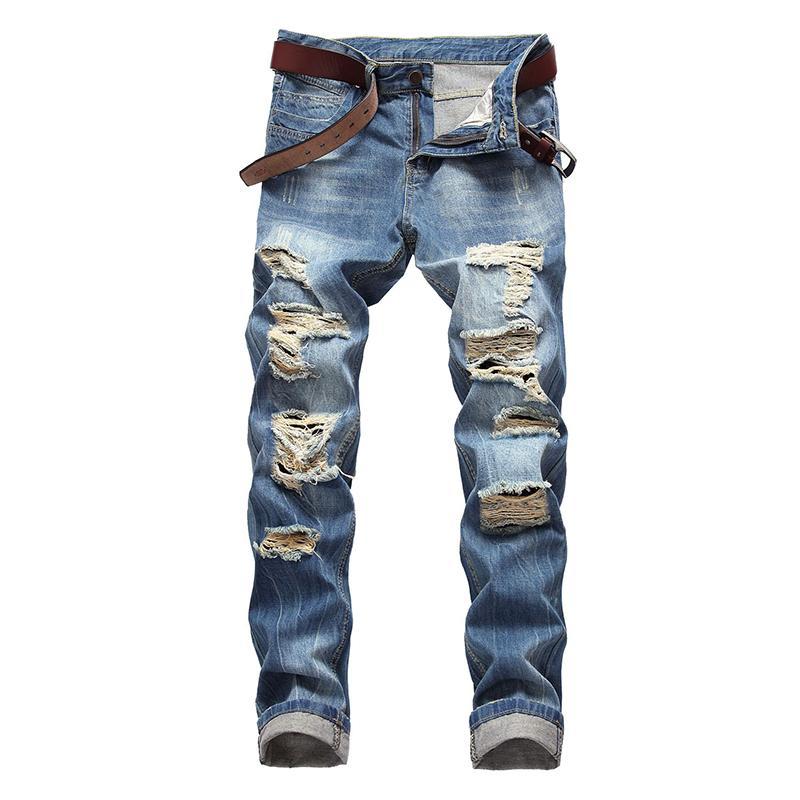 2019 hommes déchiré Biker Jeans De Mode Hip Hop Mâle Droite Détruit Slim Fit Denim Pants Streetwear Avec Trou Plus La Taille
