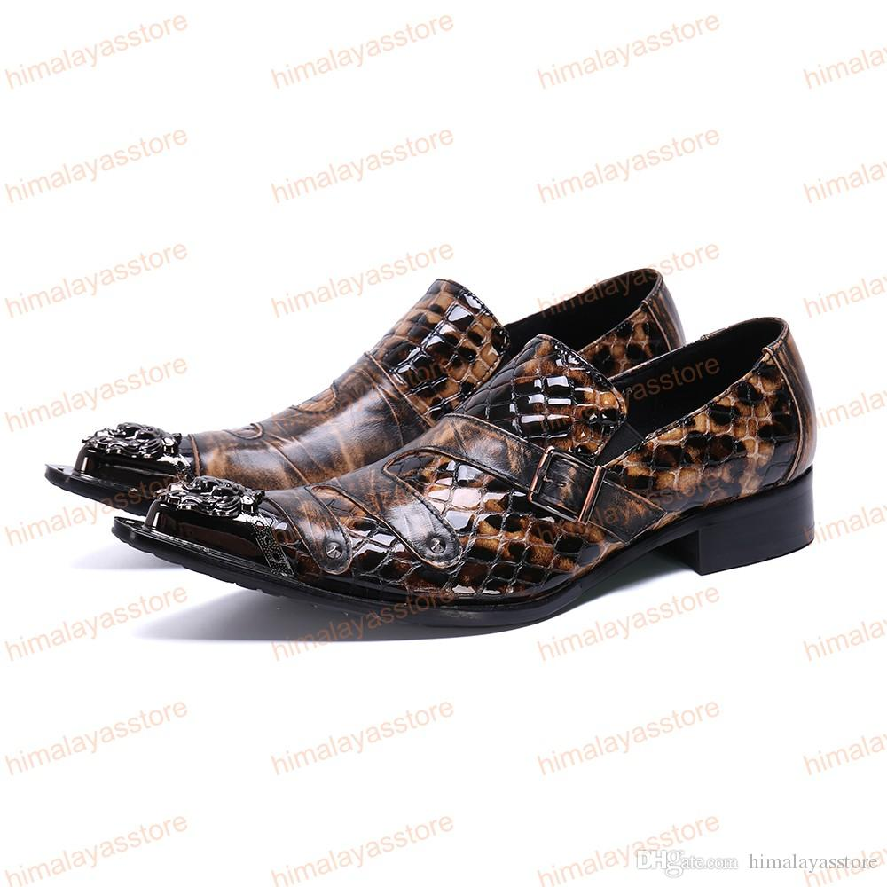 Fashion Snake Skin Genuine Leather Men Business Shoes Plus Size Slip On Metal Pointed Toe Formal Dress Men Shoes
