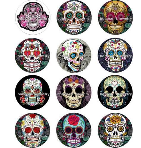 New Skull bouton photo accrochage bijoux ronde bijoux Gl216 faire de bricolage Résultats Fit for bracelet collier boucles d'oreilles ect