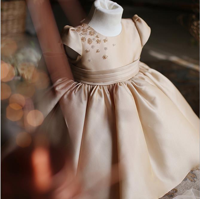 champagne satin beads baby girl baptism gowns christening dress short sleeves little kids first birthday dress for girls