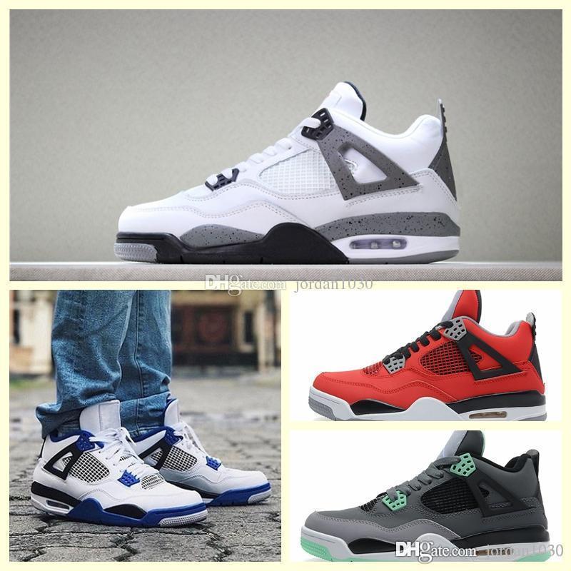 Nike Air Jordan Original AJ AJ4 2019 Hot aj Bred 4 4s What The Cactus Jack laser Ali Mans scarpe da basket Denim Blue Man Sport Designer Sneakers US7-12