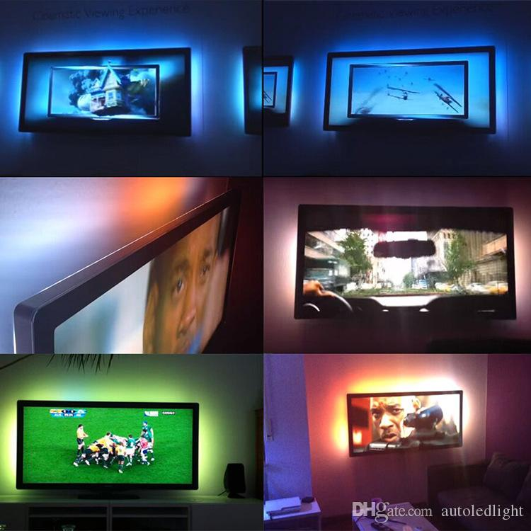 USB 5 فولت rgb led قطاع 5050 قطاع أضواء التلفزيون الخلفية 5 فولت usb بدعم 3key تحكم مصغرة ل HDTV، شاشة مسطحة تلفزيون اكسسوارات متعددة الألوان