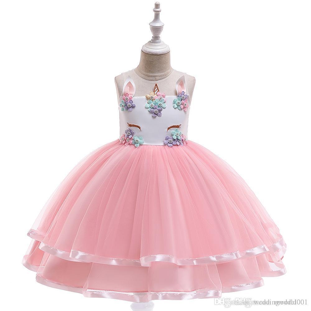 Vestir para la Primera Comunión de las muchachas del vestido con estampado de flores de las muchachas de baile vestido de los niños del traje elegante bata de pelota Vestid