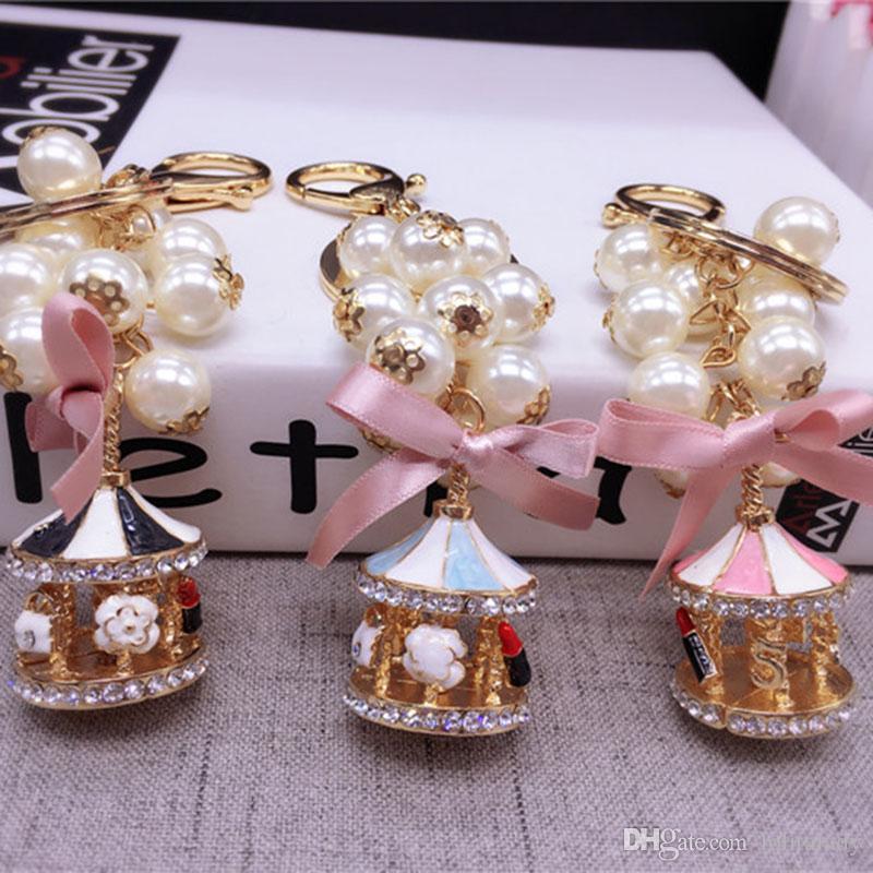 Sevimli Yaratıcı Atlıkarınca Kadınlar için Anahtar Yüzükler Güzel Yay Düğüm Anahtarlık Kadın Moda Inci Kadın Anahtarlık