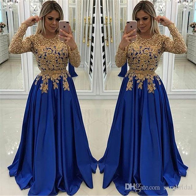 new product 8e3e8 07627 Acquista Eleganti Abiti Da Ballo Blu E Oro Manica Lunga 2019 Girocollo Con  Perline Una Linea Vestito Da Sera Formale Africano Satinato Pageant ...