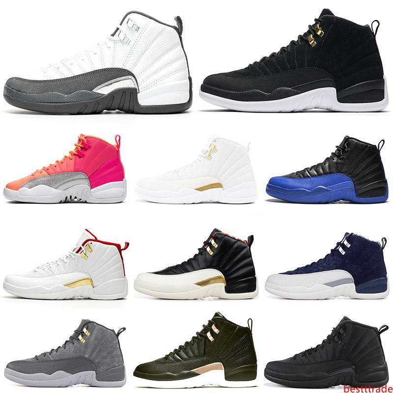 2020 12 hombres zapatos de baloncesto 12s gris oscuro Juego Real inversas hombre Taxi De calidad superior entrenadores deportivos zapatillas de deporte 7-13 nueva llegada