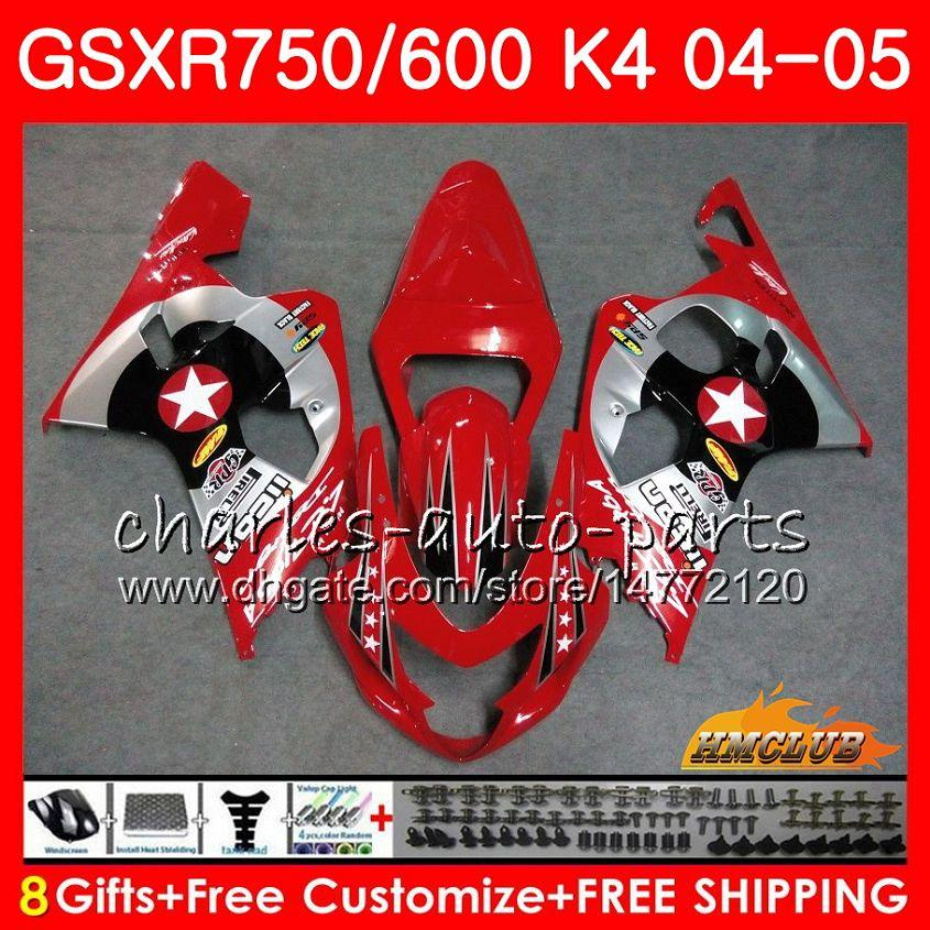 Kit para Suzuki New Red Stars GSX R600 R750 GSXR600 GSX-R750 GSXR 600 750 04 05 7HC.85 GSXR-750 GSXR750 K4 GSXR-600 04 05 2004 2005