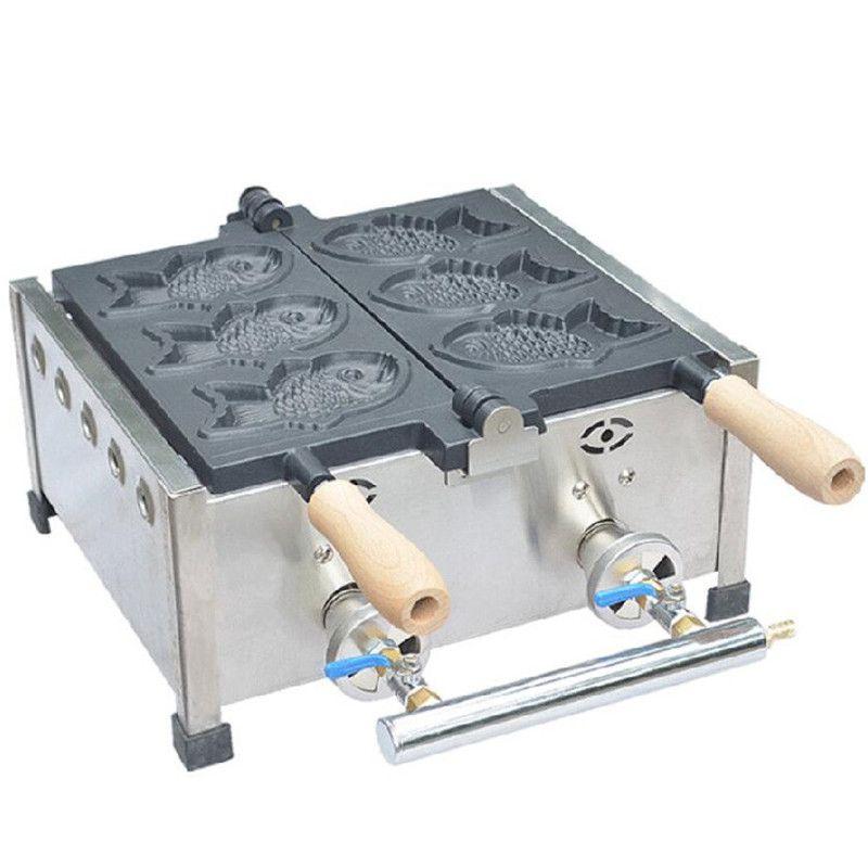 BEIJAMEI el uso comercial antiadherente gas GLP Taiyaki la máquina de los Baker, pastel de pescado Hierro Waffle Equipo Producción Máquina de aperitivos