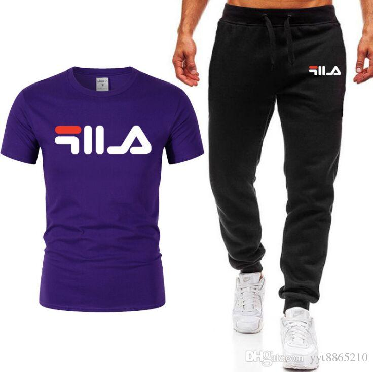2020 Sommeranzug Männer Sets T-Shirt + lange Hosen Herren Jogginganzug Lässige Schnell trocknend Sportkleidung Männliche Art und Weise 2-teiliges Set Hohe Qualität