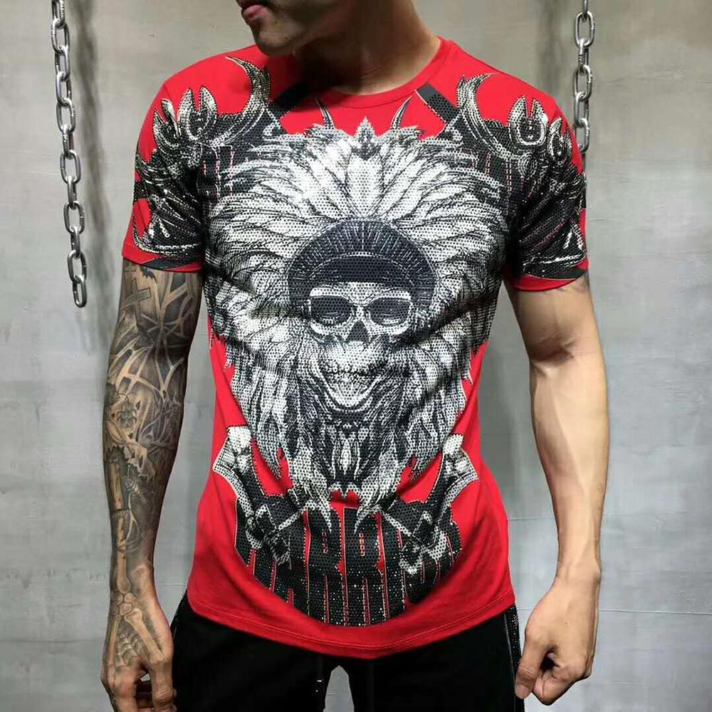Pp Bag Packaging! Marca hombres verano Warrior Rhinestone camiseta de la impresión 100% algodón puro moda Tops camisetas hombre camiseta ocasional Y190509