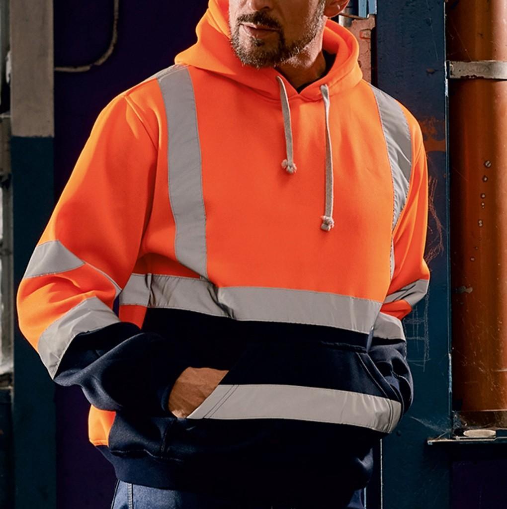Trabalho de estrada de alta visibilidade Mens Hoodie 2019 pulôver Thicken moletom com capuz Tops Patchwork Blusa Plus Size moletom