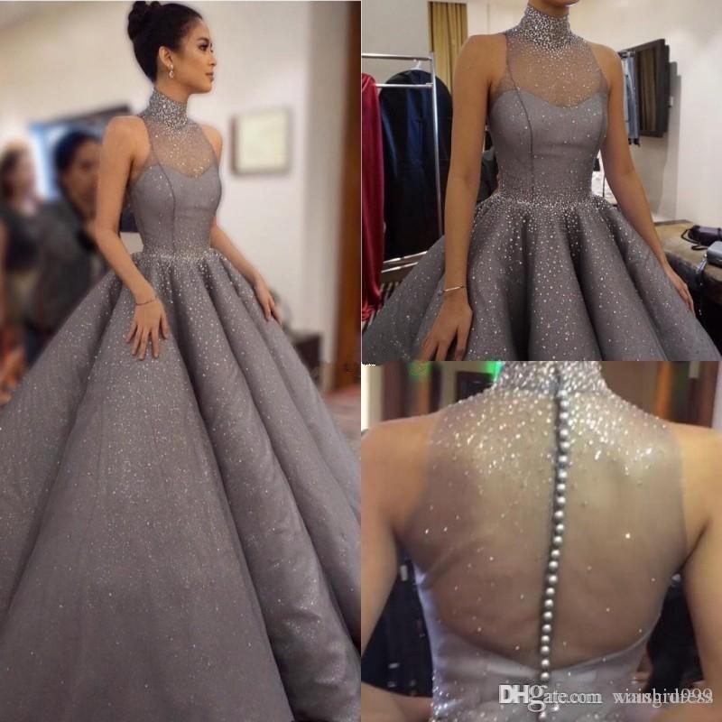 Waishidress Brillante paillette robe de bal Robes Tenue de soirée Sheer col montant en cristal robe de bal Taille Plus formelle Occasion spéciale Robe