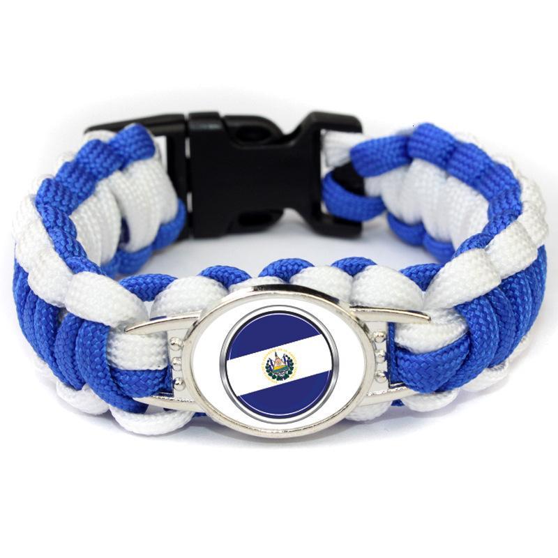 20 pc El Salvador Drapeau Paracord Survie Camping En Plein Air Bracelets Pour Femmes Hommes Filles Corde D'amitié 550 7 Bracelet Bijoux