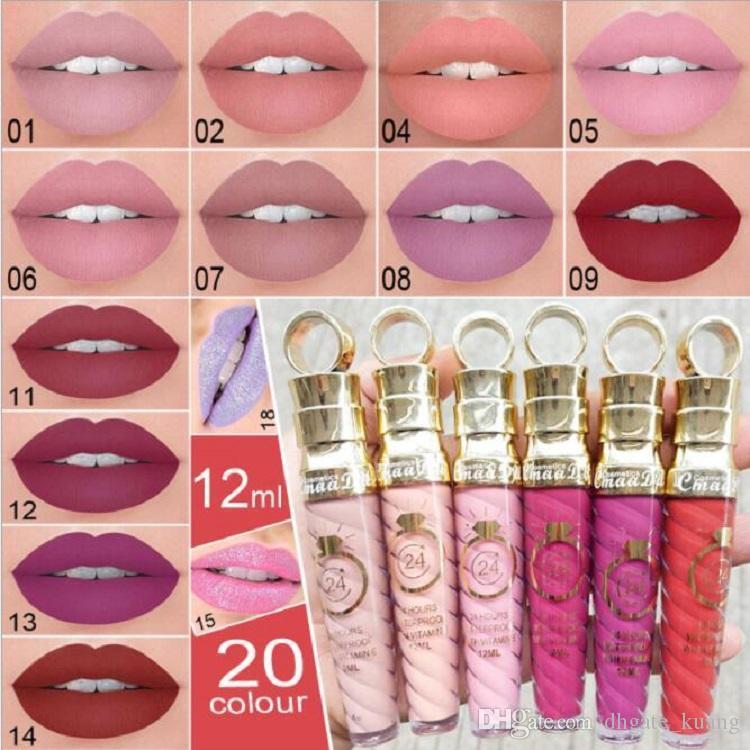 Cmaadu Marca 20 Colores Maquillaje de labios Brillo de labios Mate Brillo de labios Líquido Lápiz labial Impermeable Sexy Rojo Metálico Tinte de labios Perspectiva especial 20pcs