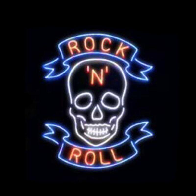 "Rock Roll Skull Neon Sign Custom Handmade Real Glass Tuble Store Shop Beer Bar KTV Club Pub Decoration Display Neon Signs 15""x19"""